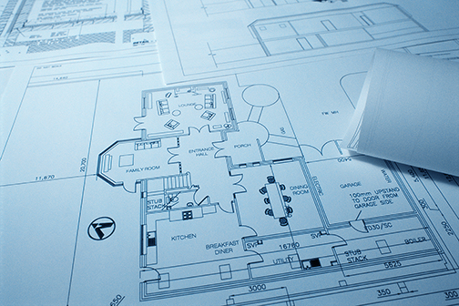 Blueprint on a table