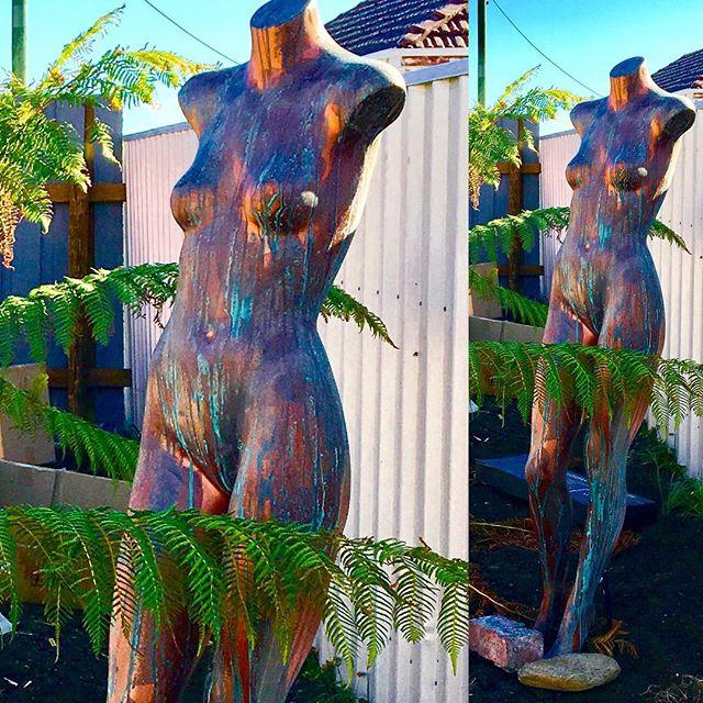 Venus rising in Sulphur Creek! Dress shop mannequin meets Porters copper paint.