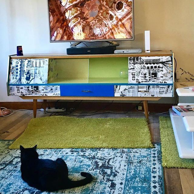 Chilling after a long day of home renovation. Featuring Sid The Cat and my OTT upcycled, $20, Op Shop, 1960's buffet. Hey, it was fun to wallpaper.
