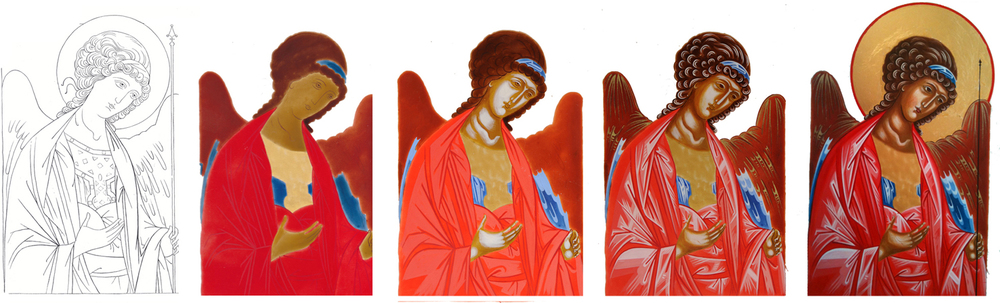 Archangel Michael, stages of painting,  introductory  icon-painting course