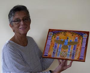 Egg-tempera painting of Faravahar by Zenobia Turnbull