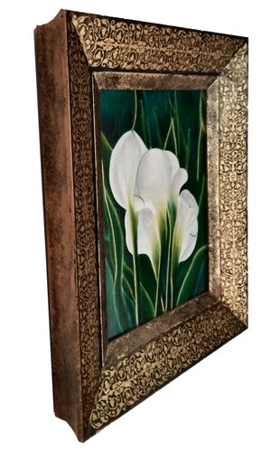 Calla Lilies in a unique, hand-painted frame — Let There Be Light Art