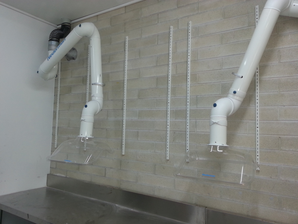 Two Nederman FX laboratory arms