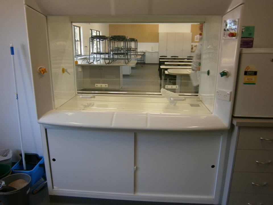 Double-sided fume cupboard in school laboratory