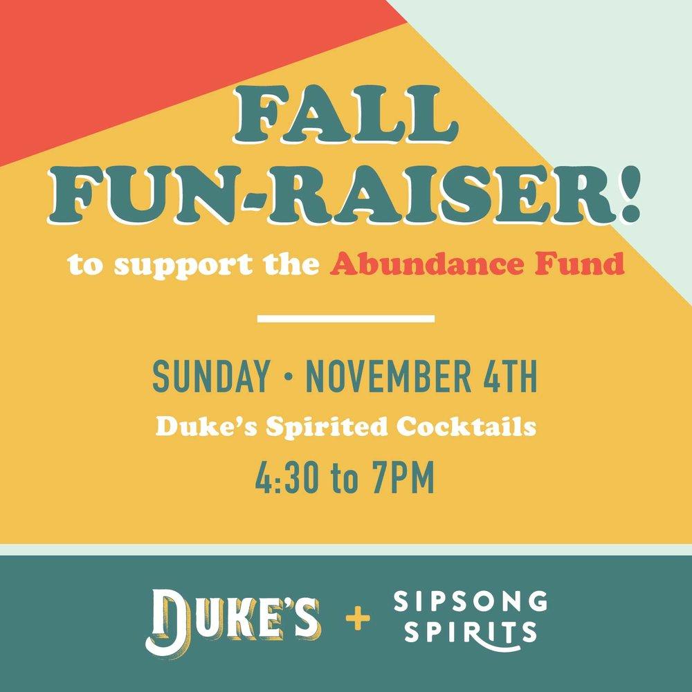 fall fun raiser for the abundance fund duke s spirited cocktails