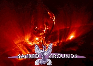 Sacred Grounds logo in front of solar flare