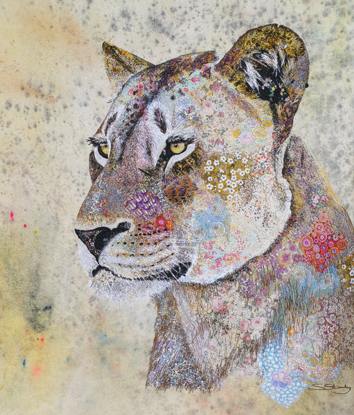lioness 2 sophie standing textile embroidered art