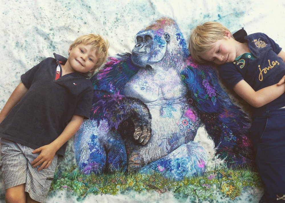Fynn and Sam with the finished gorilla