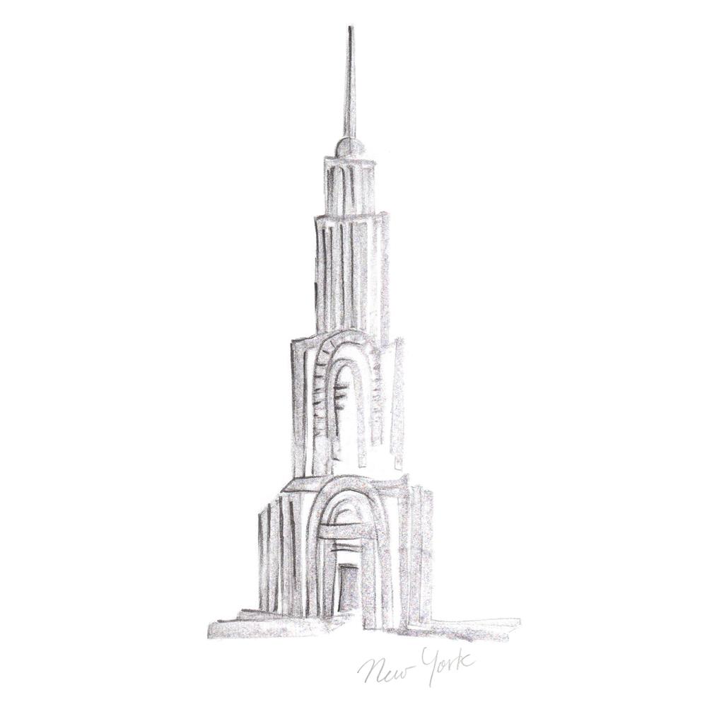 Art Deco building sketch by Parin