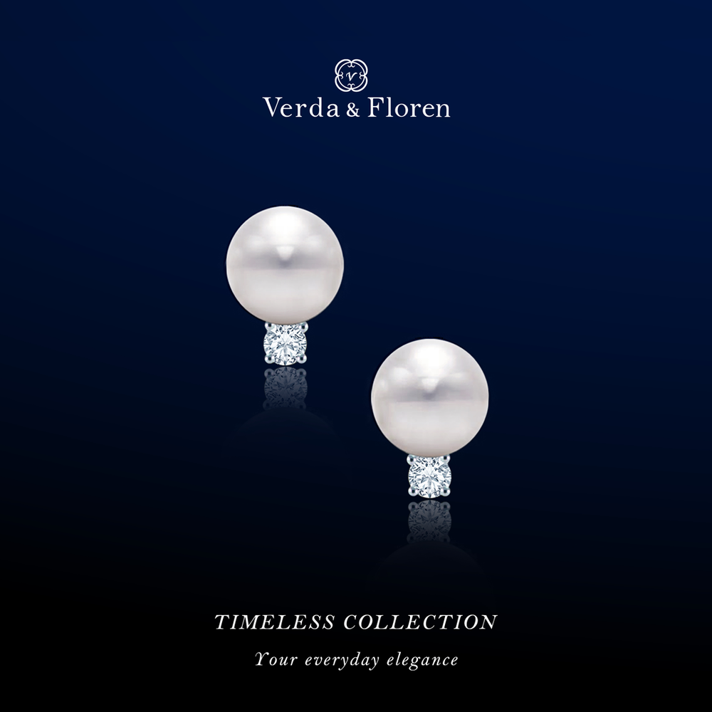 Australian South Sea cultured pearl earring with round brilliant diamond and 18K white gold.