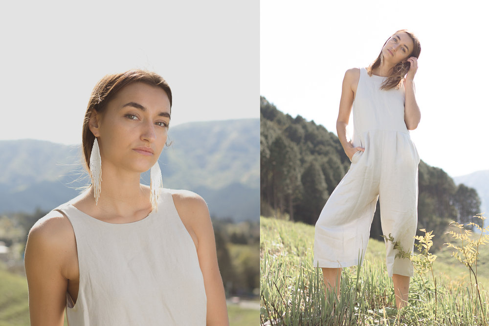 Jumpsuit: Crop Pantsuit / Earrings: White Moon Milky Sand