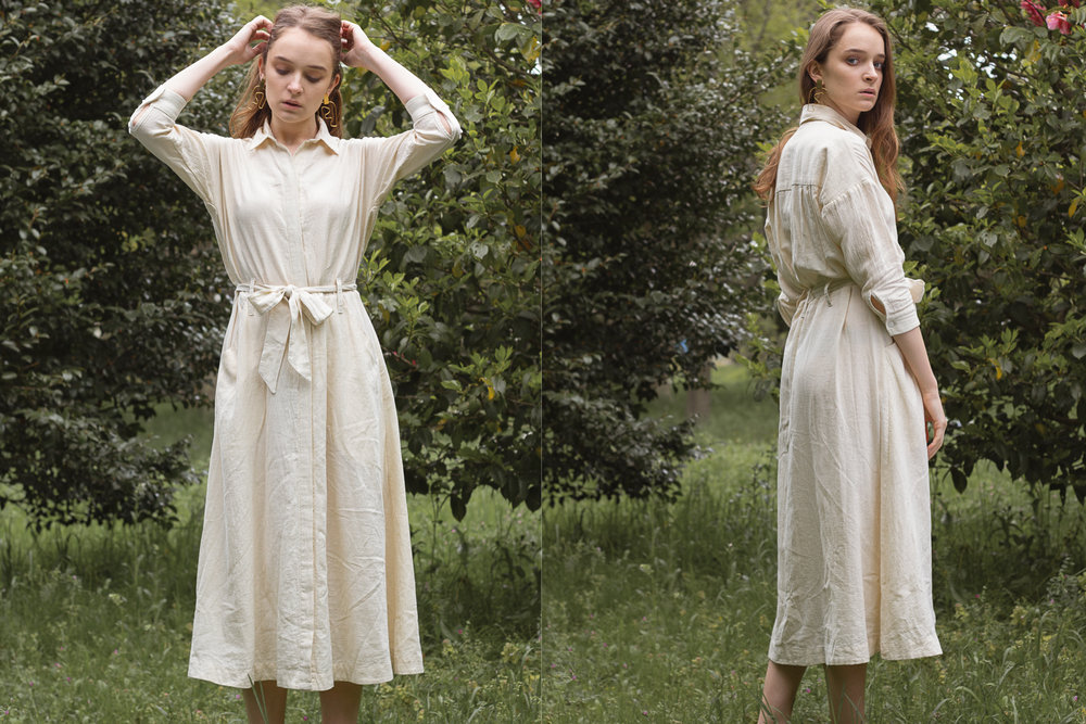 Mabel Shirt Dress (Natural) + No.8 Two Hills Earrings