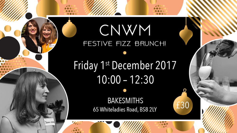 Kick start the Festive Season with a good old CNWM meeting with Fizz and Brunch! There will also be some extra special entertainment, to be revealed in due course.... I'm also happy to announce the return of the Promo Table! Remember the mini wardrobe or the tree of health from the Christmas party? Think outside the box and create the most memorable display of your business possible, this is your chance to showcase your business and show us what you are all about! There will be a prize for the best 3 displays so be as outlandish as you like!  Photographs taken from this event may be used for social media & other marketing purposes, please notify sarah@sarahcook.co.uk if you do not wish your photo to be used Photographs taken from this event may be used for social media & other marketing purposes, please notify sarah@sarahcook.co.uk if you do not wish your photo to be used.