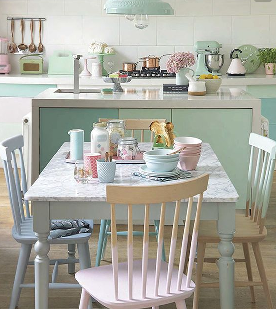 Go the whole hog and accessorise your pad with pastels