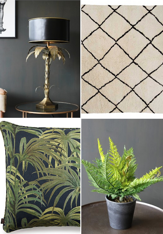 Clockwise from top left....  1. Palm table lamp £149 -  R  ockett St George   2 Beni Ourain style rug from £48.75 -  La redoute    3. Faux Boston Fern £14 -  Rockett St George   4. Fern print Cushion £79 -  House of Hackney
