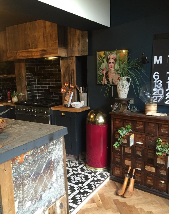 Hilary & Flo - This newly refurbished kitchen has a wonderful eclectic mixture of concrete worktops, tin tiles cladding the island and vintage apotharcary chest.