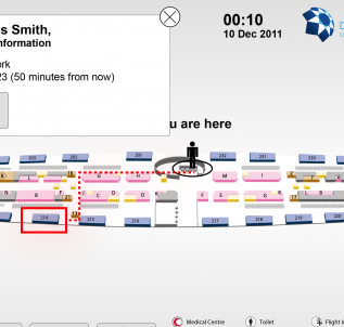Dubai airport Scan your boarding card and it tells you exactly where to go. Read more