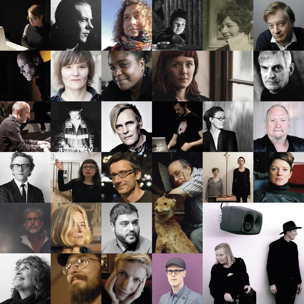 Paula Matthusen (©Audiorama), Anders Blomqvist (Source: Nutida Musik), Zuriñe F. Gerenabarrena (PRIV), Ryoko Akama (©Agata Urbaniak), Else Marie Pade (PRESS), Jan W. Morthenson (©Lars Torndahl), Benjamin Thigpen (PRIV), Kirsten Reese (©Harry Schnitge), Yvette Janine Jackson (©Catherine Koch), Maria W. Horn (©Jonas André), Bengt Emil Johnson (©Ulla Montan), Guillermo Lauzurica (PRIV), Caterina Barbieri (PRESS), Åke Parmerud (©Luc Beauchemin), Mattias Petersson (©Marcus Wrangö), Christine Ödlund (©Lisa Nordwall), Dror Feiler (©FST), Rune Lindblad (©Peter Lundberg), Agathe Simon (©Magnus Bunnskog), Alfonso García de la Torre (PRIV), Trevor Wishart (©Harley Weir),Vinyl Terror & Horror (©Jan Søndergaard), Kaffe Matthews (©Poppy Berry), Ken Steen (PRIV), Hanna Hartman (©Helga Brekkan), Mikel Chamizo (PRIV), María Eugenia Luc (PRESS), Per Magnusson (©Marcus Wrangö), Savannah Agger (©Gerhard Behles), Richard Chartier (PRESS), Lawrence English and Brunhild Ferrari (©Bodil A. Bolstad).