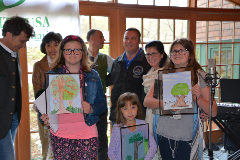 Winners of the Trees drawing competition: Zoe Vaught (Second Runner-up), Maddie Nicholson (First Runner-up) and Eliza Vaught (First Place).