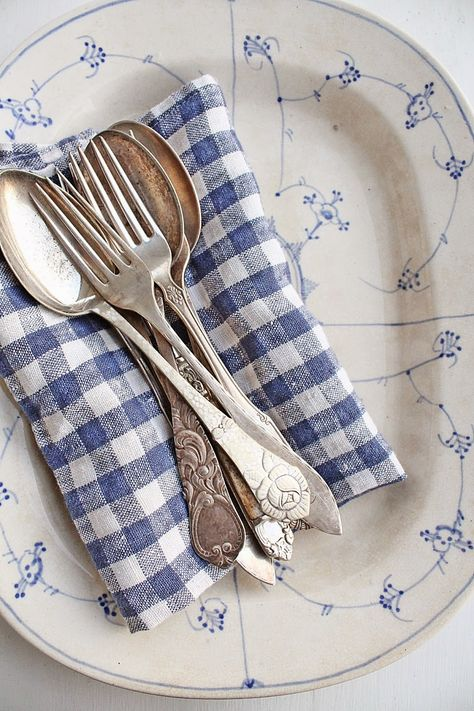 Blue and White Checked Napkin with Vintage Silver