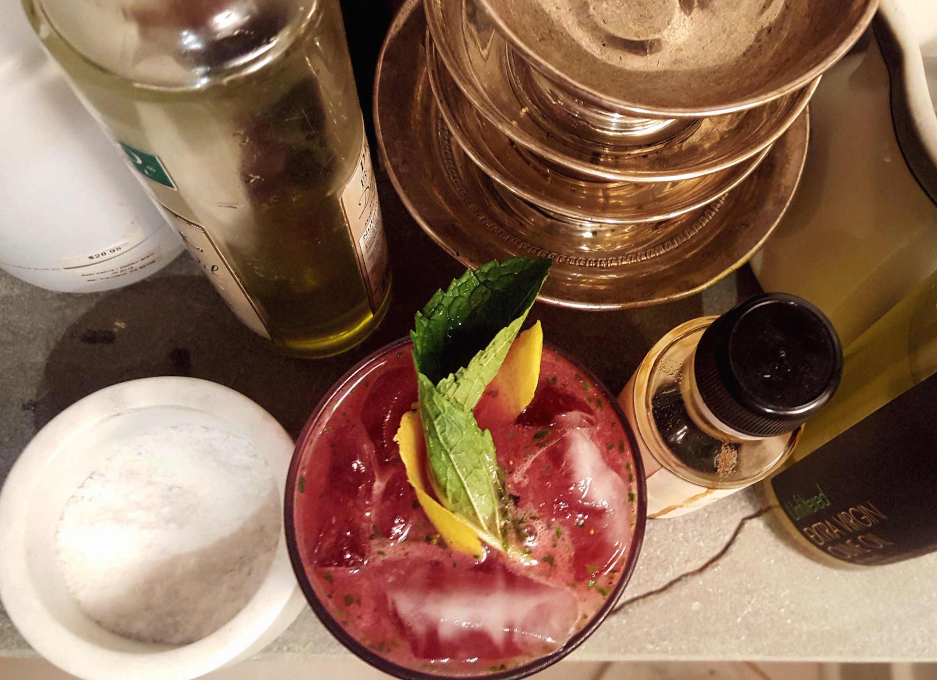 Blueberry Bourbon Mintade on counter