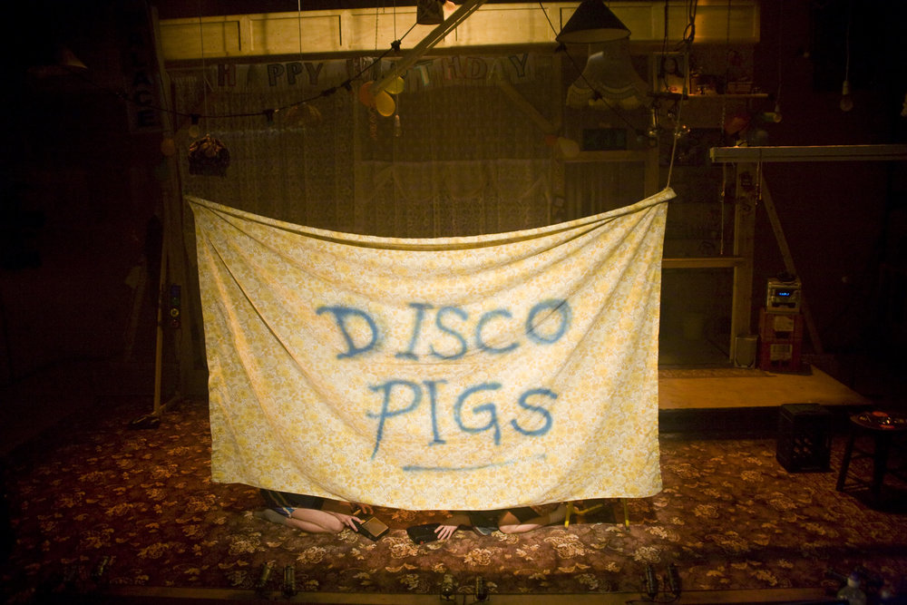 Disco Pigs /  Young Vic / September 2011   JMK DIRECTORS' AWARD WINNER   Written by  Enda Walsh   Cast  Charlie Murphy / Rory Fleck Byrne   Designed by  Chloe Lamford   Lighting by  Anna Watson   Sound by  Tom Gibbons   Produced by  Ros Terry