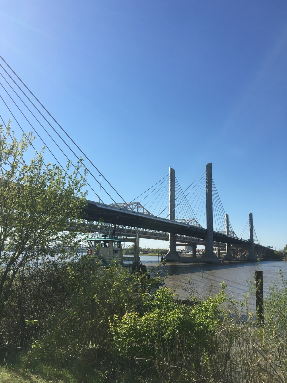 """Louisville's beautiful new """"Lincoln"""" bridge connecting Kentucky to Indiana."""