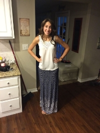 My absolute favorite maxi skirt.  It was my first day of school outfit this year!
