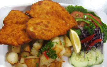 CHICKEN SCHNITZEL W ROASTED POTATOES