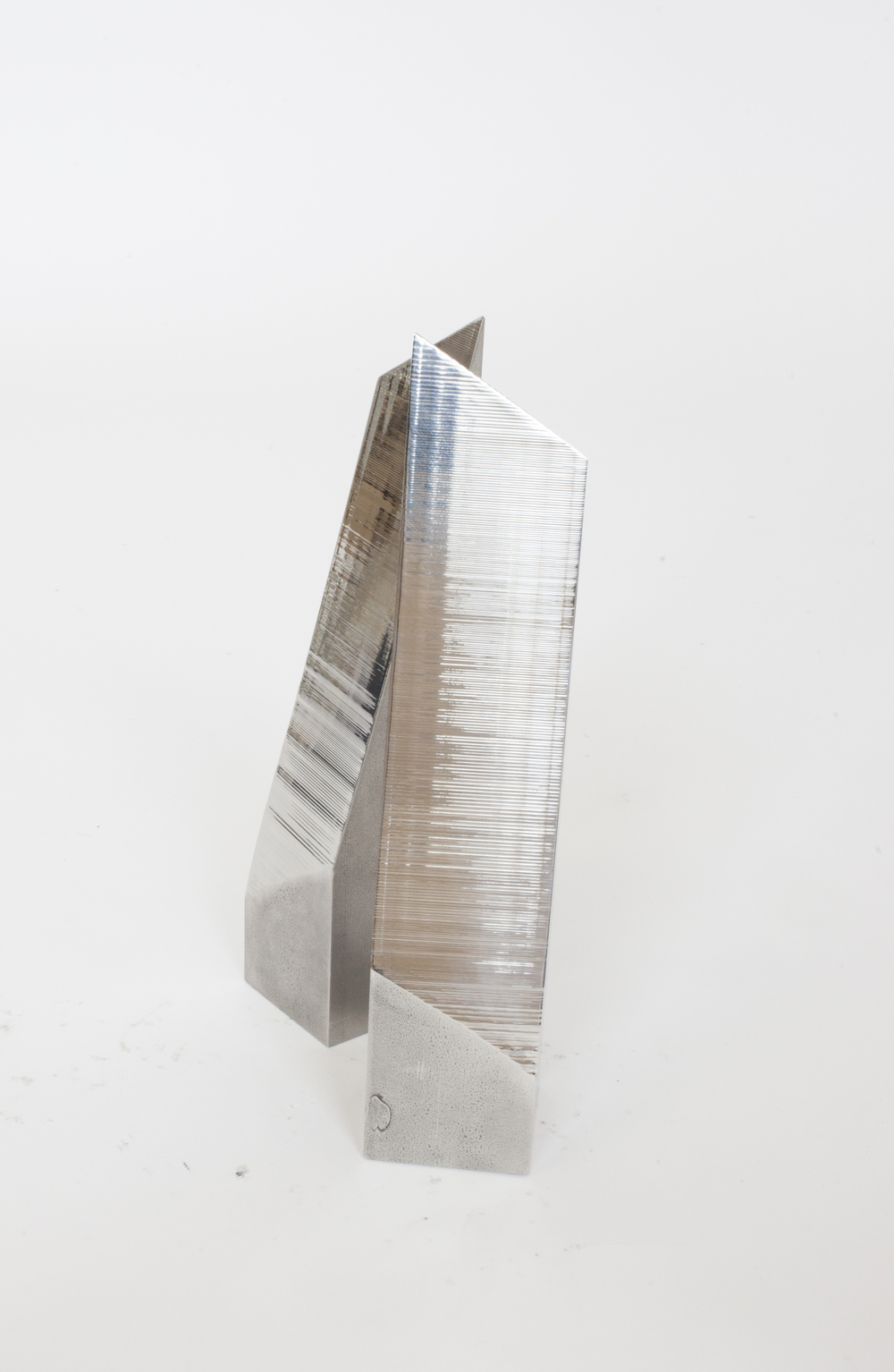 "WEDGE BOOKENDS    1 of 1  STAINLESS STEEL 6.5"" - 9"" - 9.5"" - 10"" - 11""H x 2""W x 2""D   PDF   / 1STDIBS  IN STOCK / MADE TO ORDER"