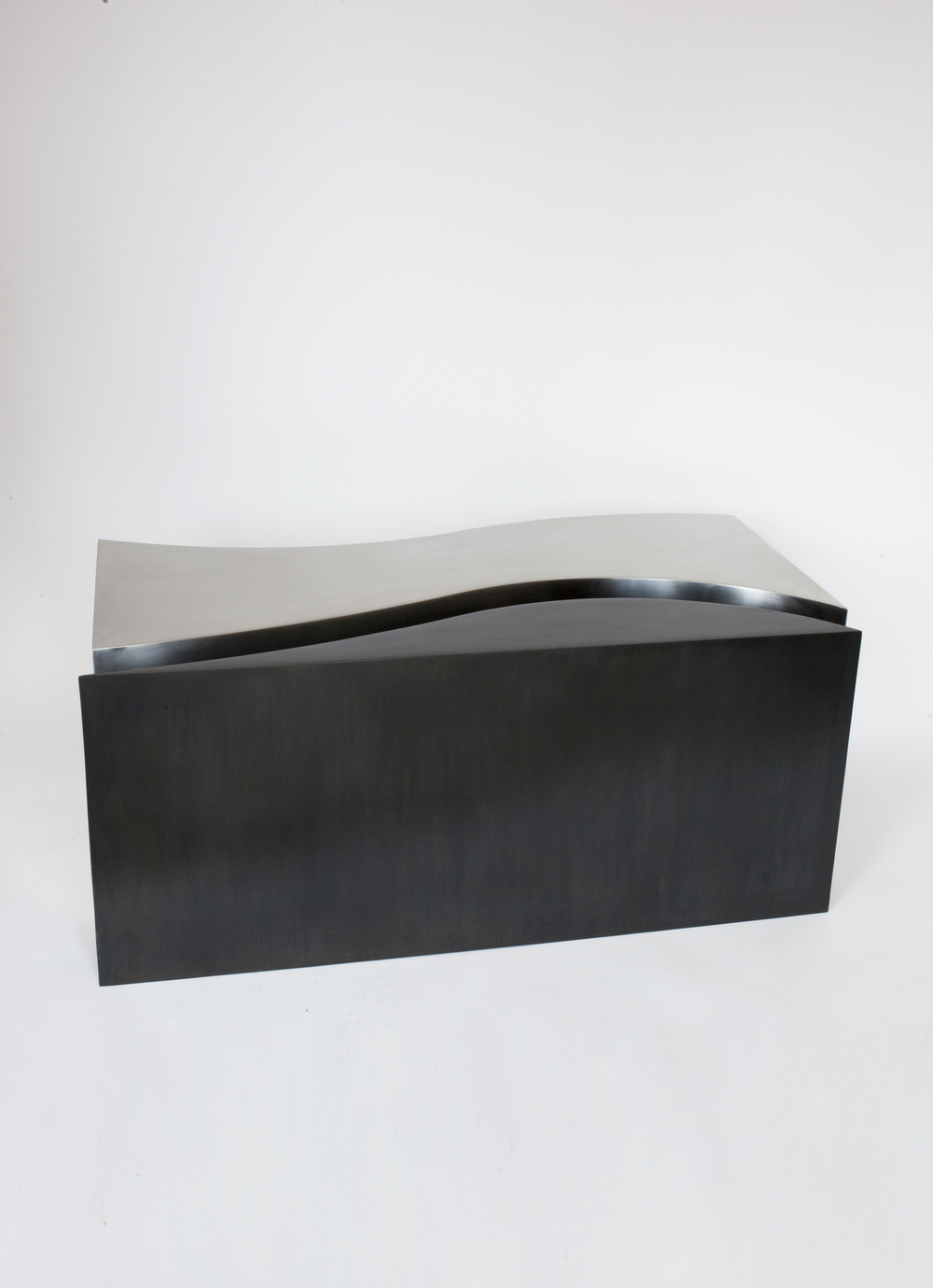 """FIT TABLE RAW AND BLACKENED STEEL 42""""L x 19""""W x 18""""H PDF / 1STDIBS IN STOCK / MADE TO ORDER"""
