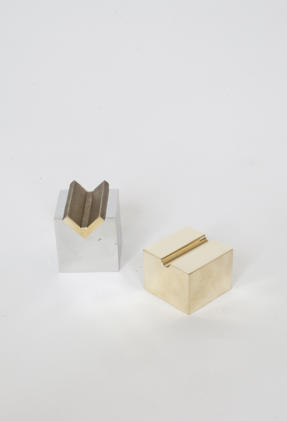 """INSERT PEN AND PENCIL HOLDER  POLISHED STAINLESS STEEL AND BRASS 2""""H x 2""""W x 2""""D INQUIRE TO PURCHASE IN STOCK / MADE TO ORDER"""