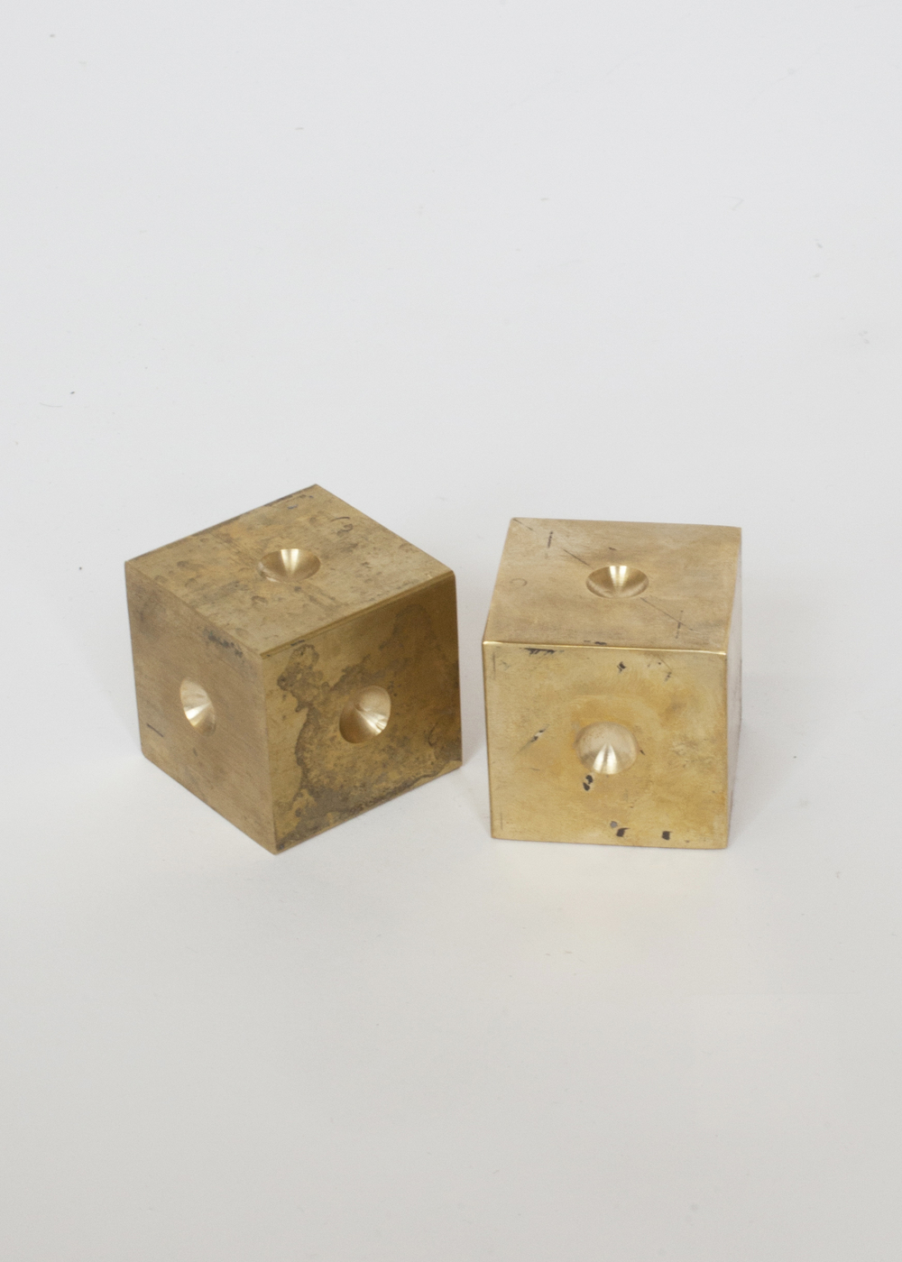 "PAPER WEIGHT  1 of 1  BRASS 2""W x 2""D x 2""H   INQUIRE TO PURCHASE    IN STOCK"