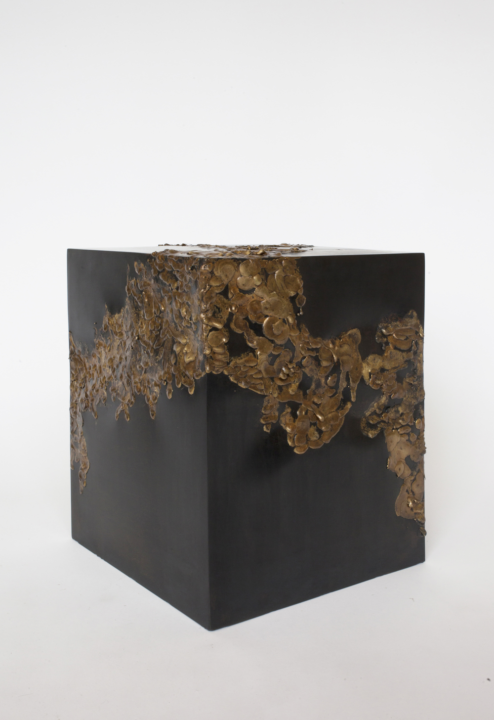 """CUBE TABLE  1 of 1  BLACKENED STEEL WITH GOLD SOLDER SMALL 12""""W x 12""""D x 15""""H LARGE 20""""W x 20""""D x 20""""H   PDF   / 1STDIBS  IN STOCK / MADE TO ORDER"""
