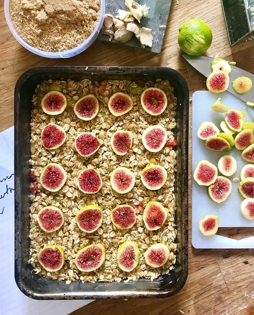 Sticky plum and pistachio flapjacks