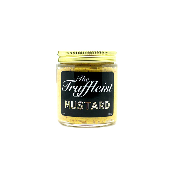 The Mustard:  Bauer's mustard made since 1888 in Ridgewood, Queens infused with black summer truffles from northern Italy. Contains pieces of truffles.