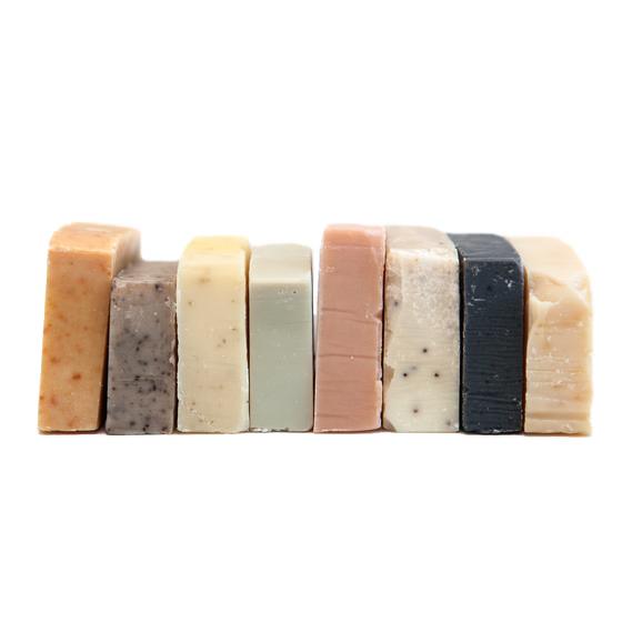 This sample set includes 8 mini bars.      french green clay and lavendar,   peppermint coffee scrub,   french red clay and rose,   lemongrass,   activated bamboo charcoal cedarwood,   cinnamon orange clove,   patchouli orange, &   teatree lemon honey