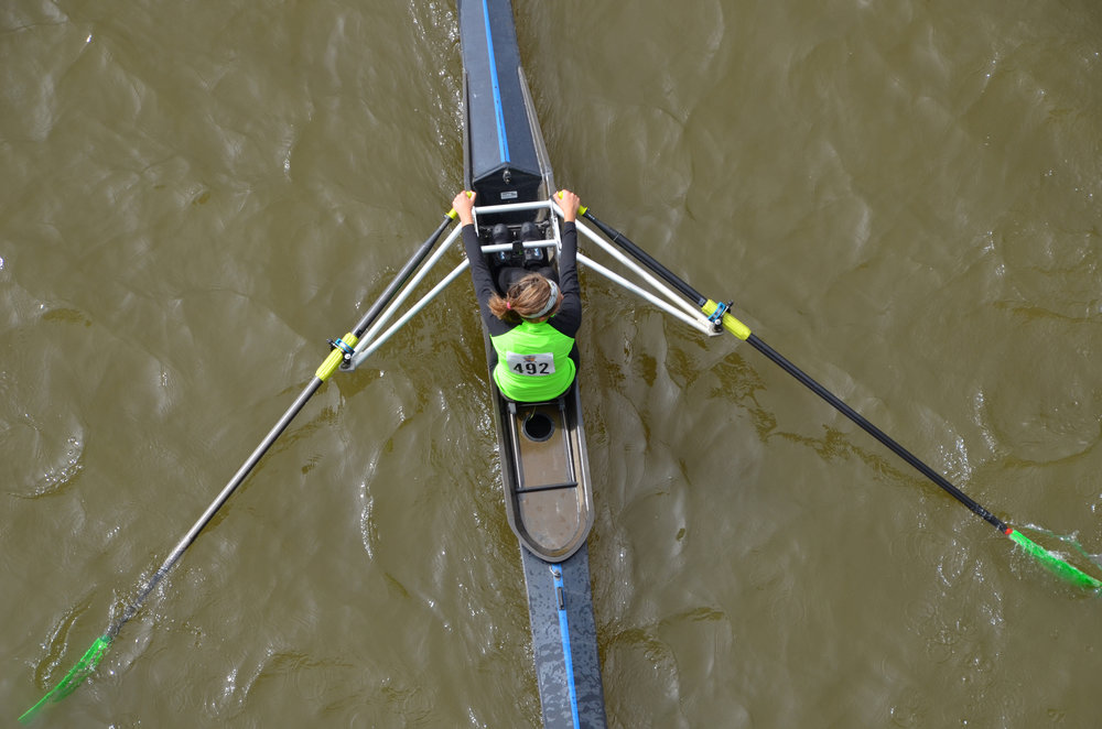 We emphasize learning through  sculling  because it is a symmetrical movement and all team members participate as rowers.