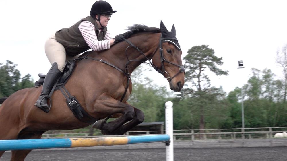 Rebecca Garner riding Frank. Still from slow motion video (below).