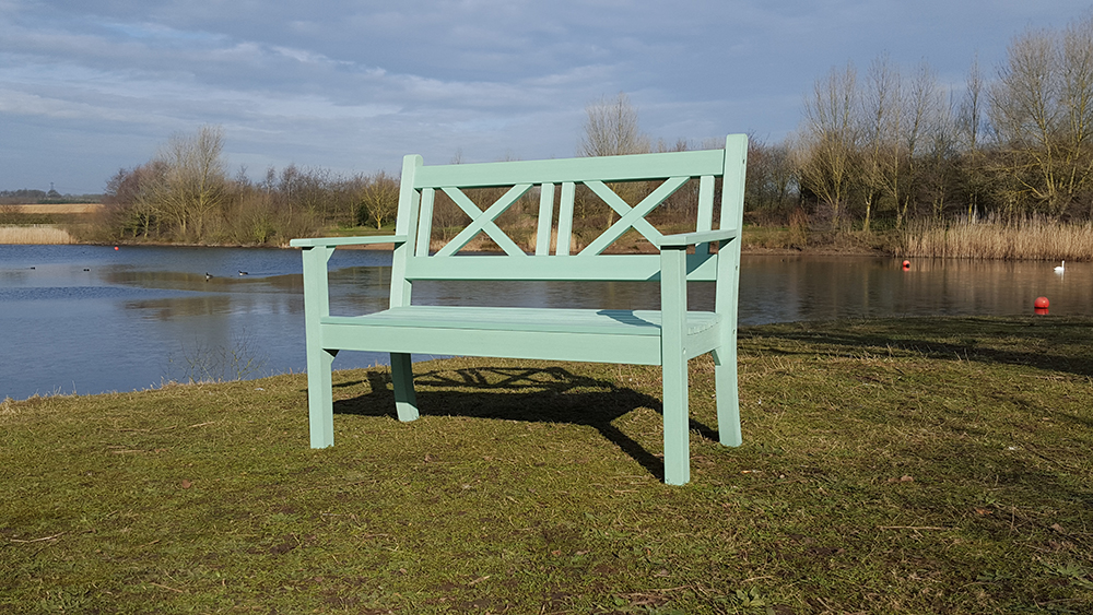 Maywick 2 Seater Bench in Duck Egg Green  RRP: £319.00