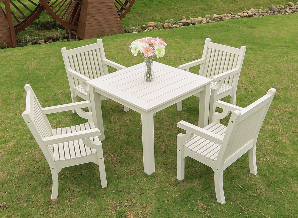 Sandwick Dining Set Consists of 4 x Sandwick Armchairs & 1 x TAB983x983x760