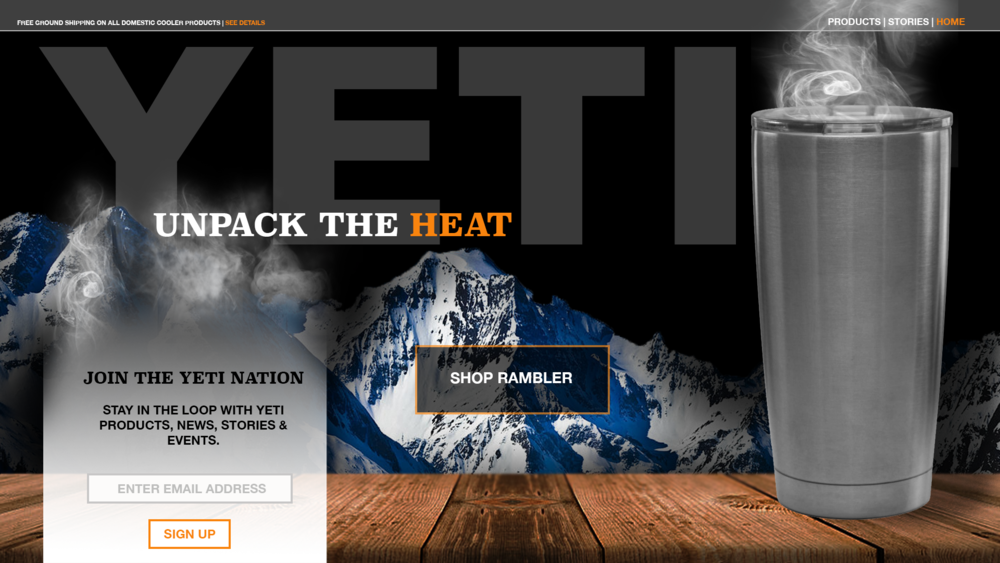 Mock up for a new Yeti homepage.