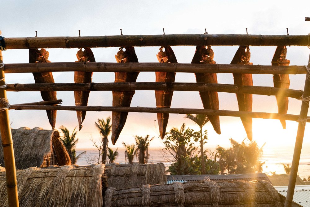 Dorados drying out in the sun is a typical site in Diura Fishing Village after a morning catch.
