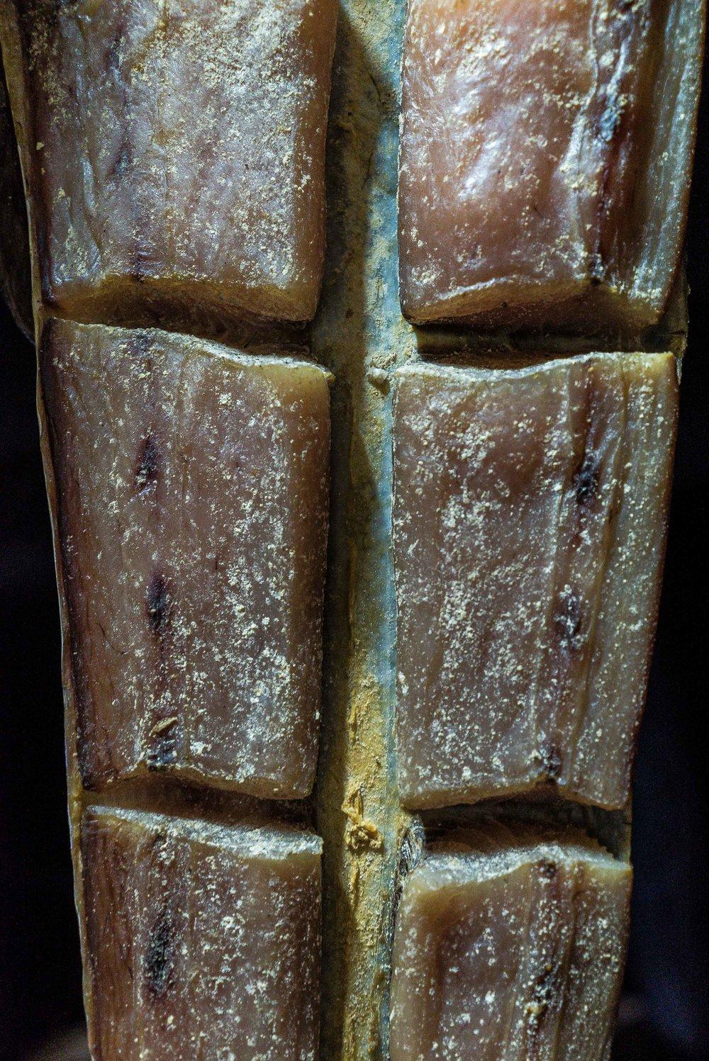 A closer look at a sliced dorado.