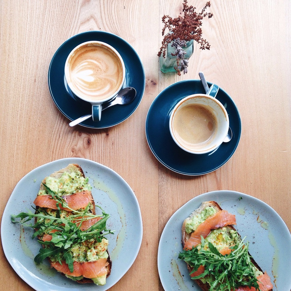 Smashed avo and salmon