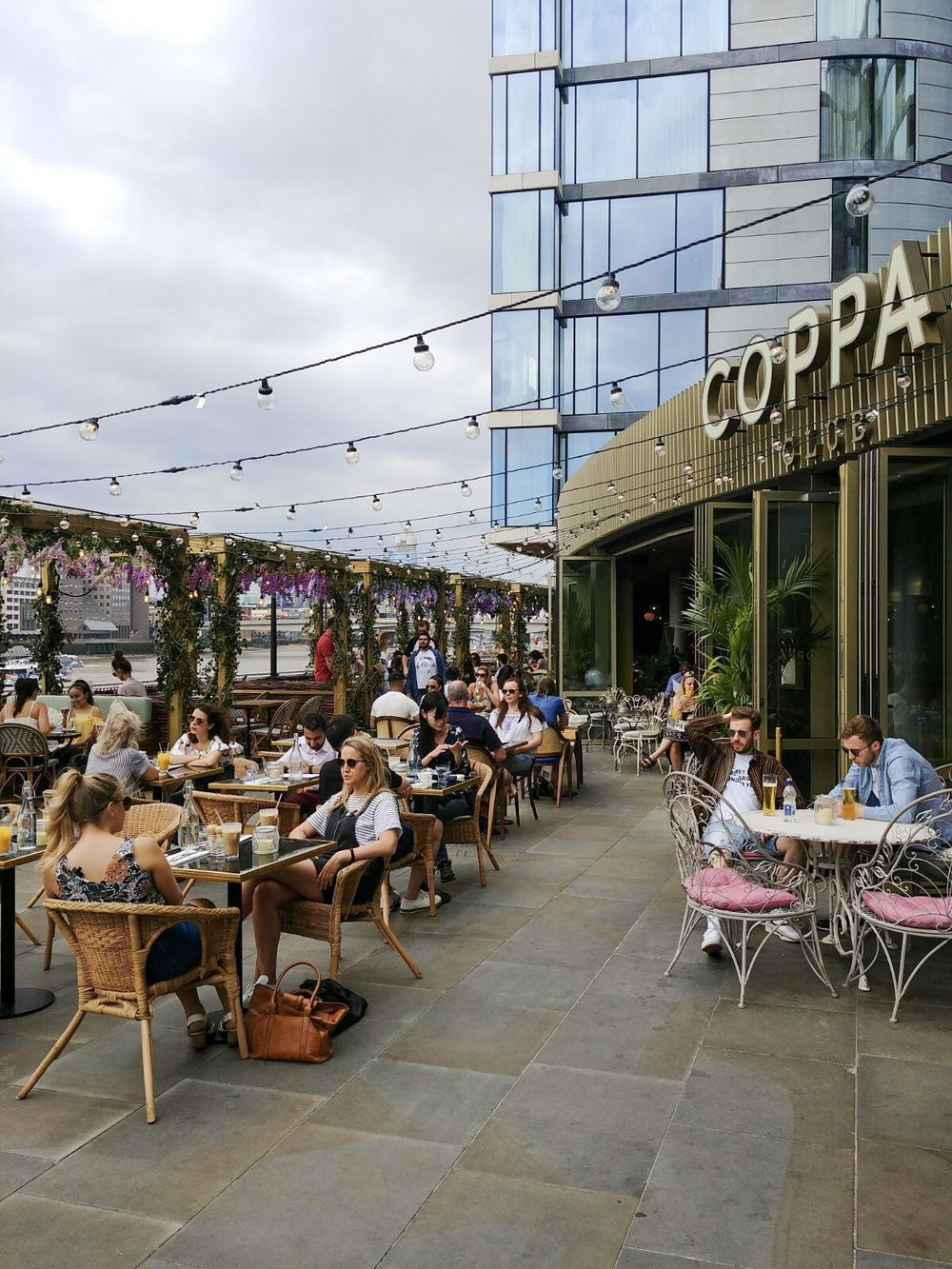 Coppa Club - Coppa Club is the place to brunch this summer, as the igloos have been replaced by cabanas decorated with wisteria. This must be the prettiest brunch spot in London.