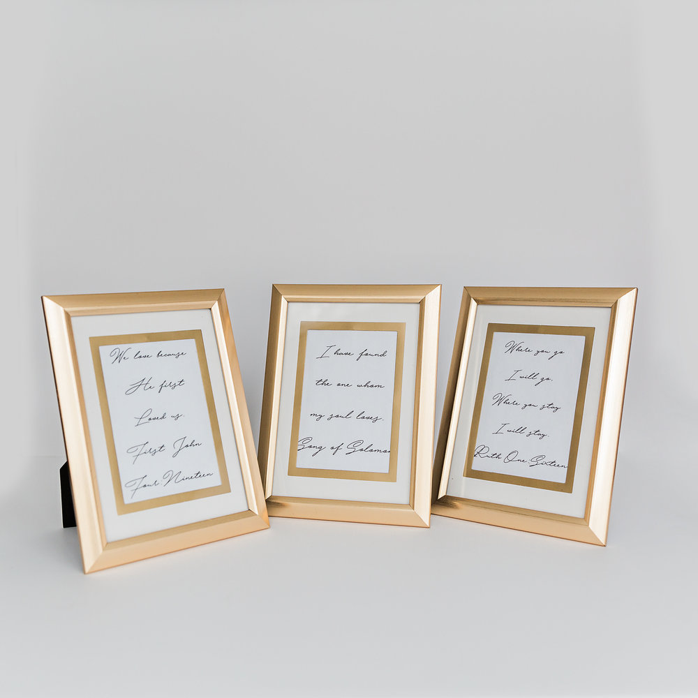 Gold Frames with Various Verses  Size: 4 inches x 6 inches >>>$0.50 each<<<