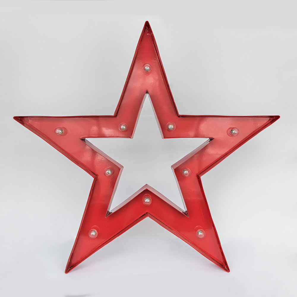 Large Metal Lighted Star  dimensions: 32 inches x 30 inches >>>$6.00 each<<<