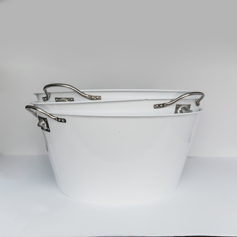 Large White Metal Beverage Buckets   >>>$6.00 each<<<