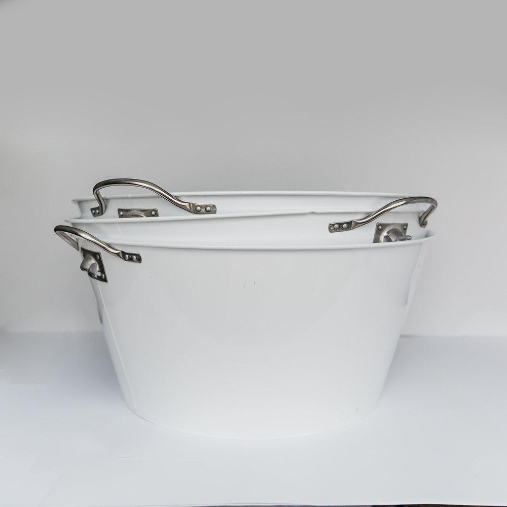 Large White Metal Beverage Buckets   >>>$6.00 each<<<
